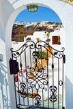 Picturesque Santorini island villa entrance Greece Stock Photo