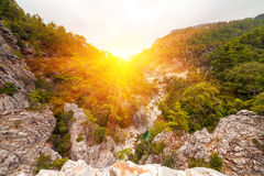 Picturesque scene in Goynuk canyon, located in District of Kemer, Antalya Province. Beautiful sunrise scenery in Turky Royalty Free Stock Photos