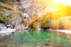 Picturesque scene in Goynuk canyon, located in District of Kemer, Antalya Province. Beautiful sunrise scenery in Turky Royalty Free Stock Images