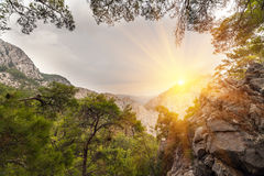 Picturesque scene in Goynuk canyon, located in District of Kemer, Antalya Province. Beautiful sunrise scenery in Turky Stock Photo