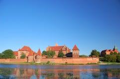 Picturesque scene of Malbork castle on Nogat river, Poland Stock Image