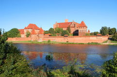 Picturesque scene of Malbork castle on Nogat river, Poland Royalty Free Stock Photography