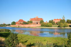 Picturesque scene of Malbork castle on Nogat river, Poland Stock Image