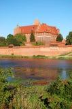 Picturesque scene of Malbork castle on Nogat river, Poland Stock Images
