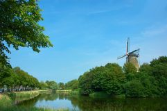 Picturesque scene, old windmill. Royalty Free Stock Image