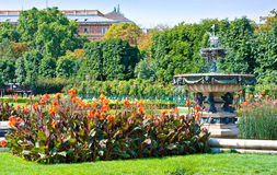 Picturesque scene in Volksgarten with fountain. Sunny spring view in Vienna, Austria, Europe Royalty Free Stock Images