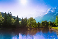 Picturesque scenery lake in Chamonix, France Royalty Free Stock Photography