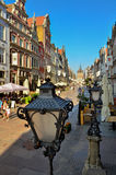 Picturesque scenery in the Old Town of Gdansk. Dluga street Stock Image