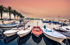 Picturesque scenery of the waterfront and harbor in Split. Royalty Free Stock Images