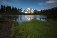 Pacific North West Washington State Hiking Climbing Landscape Waterscape Background. The picturesque scenes of Mt Baker area of Snoqualmie National Forest in Stock Image