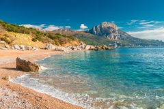 Picturesque sea bay of Laspi in Crimea. Russia royalty free stock images
