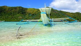 Picturesque sea landscape with boat. El Nido Stock Images
