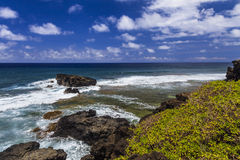 Picturesque sea landscape with rocky shore. Royalty Free Stock Photos