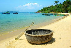 Picturesque sea landscape with tribal boat Royalty Free Stock Photography