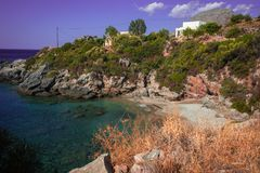 Picturesque seascape in  Bay of Souda, Greece. Picturesque seascape in Bay of Souda in Greece stock photo