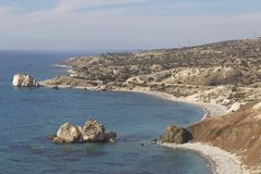 Picturesque seascape on the island of Cyprus. Picturesque winter seascape on the island of Cyprus Stock Photography