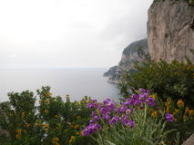 Picturesque seascape with low clouds in Capri Royalty Free Stock Photo
