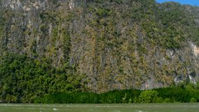 View of the huge head of the steep cliff with rare trees over the river waves. Picturesque seascapes with mangrove forests under the blua tropical sky of the stock video footage