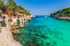 Picturesque seaside bay of beach Cala Llombards on Majorca, Spain royalty free stock photos