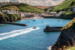 The picturesque Seaside Village & Port Isaac in Cornwall stock photography