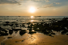 Picturesque seaview, sunset in Andaman sea, Naithon beach, Phuket. Stock Photos