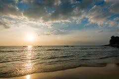 Picturesque seaview, sunset in Andaman sea, Naithon beach, Phuket. Royalty Free Stock Image