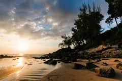 Picturesque seaview, sunset in Andaman sea, Naithon beach, Phuket. Stock Image