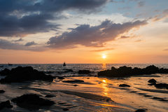Picturesque seaview, sunset in Andaman sea, Naithon beach, Phuket Stock Photography