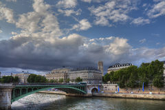Picturesque Seine during sunset. Time, Paris Royalty Free Stock Image