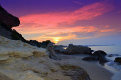 Picturesque shore sunrise Stock Photography