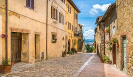 Picturesque sight in Pienza, Province of Siena, Tuscany, Italy. Pienza, a town and comune in the province of Siena, in the Val d`Orcia in Tuscany central Italy royalty free stock image