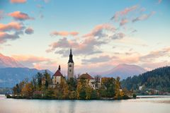 Picturesque Slovenia, Bled lake and town in the evening. Stock Photo