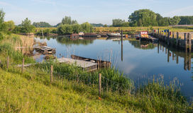Picturesque small port situated on a Dutch river Royalty Free Stock Photo