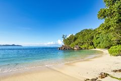 Picturesque small tropical beach on Seychelles islands royalty free stock photo