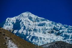 Himalaya mountains with blue glacier Royalty Free Stock Image