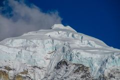 Himalaya mountain summit with snow glacier on top Royalty Free Stock Image