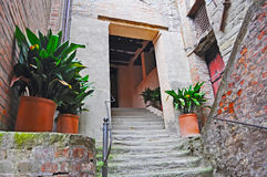 Picturesque stairway in San Leo Stock Images