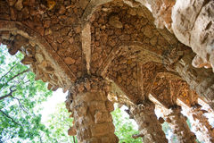 Picturesque stone pillar at Parc Guell, Barcelona Royalty Free Stock Images