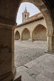Picturesque stoned arcaded square in Spain. Cantavieja, Teruel. Stock Images