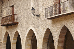 Picturesque stoned arcaded square in Spain. Cantavieja, Teruel. Royalty Free Stock Photo