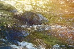 Picturesque stones in a turbulent flow. stock images