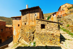 Picturesque  stony houses in old spanish town Royalty Free Stock Images