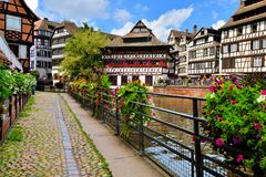 Picturesque, Strasbourg, France. Quaint timbered houses of Petite France, Strasbourg, France Royalty Free Stock Photo