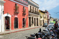 Picturesque street in Antigua, Guatemala royalty free stock photos