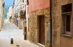 Picturesque street  in catalan town. Besalu Stock Photo