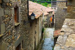Picturesque street  in catalan town. Rupit i Pruit Royalty Free Stock Image