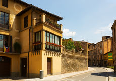 Picturesque street of  Catalan town. Vic Royalty Free Stock Photo