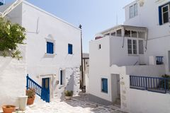 Picturesque street in a greek island. Typical greek village on paros island Stock Photography