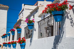 Picturesque street of Mijas. Charming white village in Andalusia Stock Images