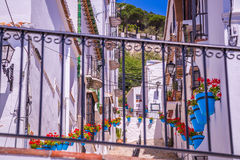Picturesque street of Mijas. Charming white village in Andalusia Stock Photography
